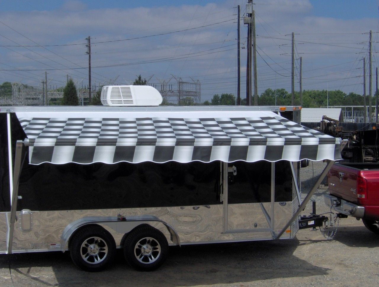 7x16 Enclosed Motorcycle Cargo Trailer A C Unit Awning 7x16 Tandem Axle Plus 2ft V Nose W Checker Toy Hauler Camper Motorcycle Cargo Trailer Cargo Trailers