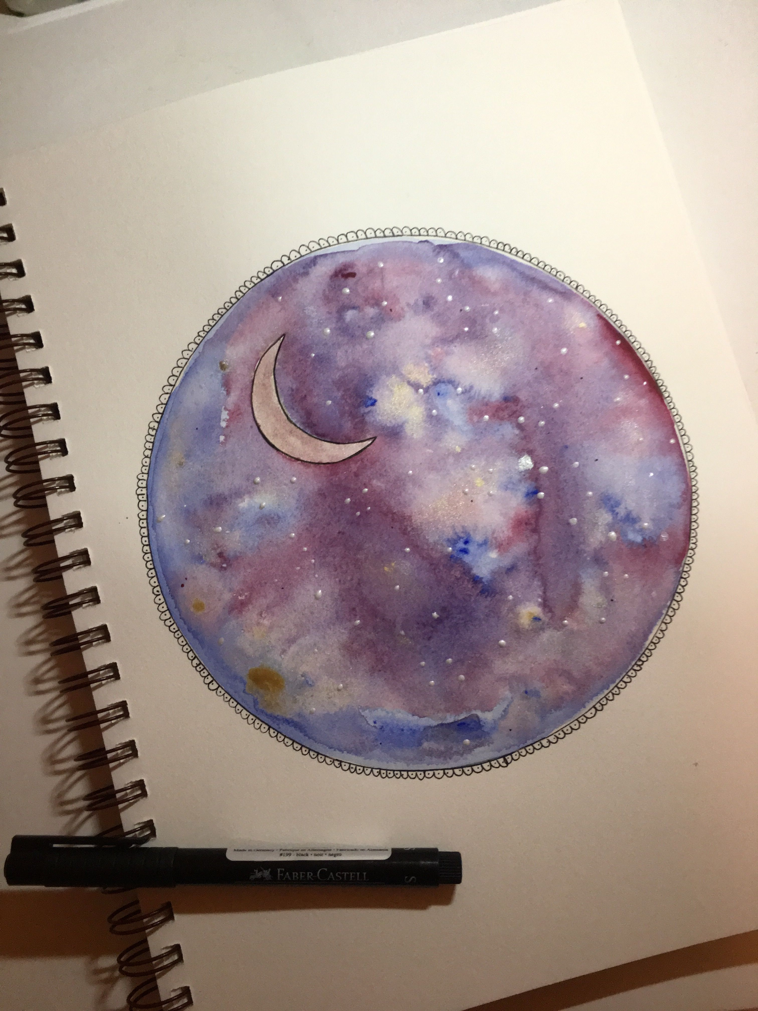 To make this painting, I used watercolor and ink. I started out by tracing a circle, then, using a mixture of both regular and metallic watercolors, I painted it to look like a galaxy. Once the painting was finished, I used black ink to outline it and add more details.