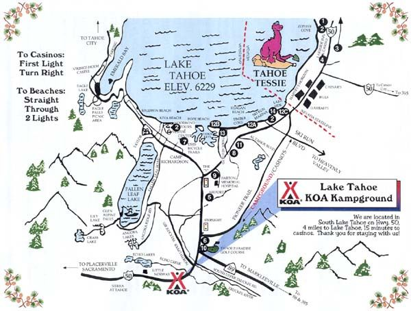 South Lake Tahoe campgrounds map Lake Tahoe Pinterest South