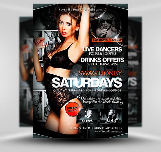 Swag Honey Saturdays Flyer Template #PSD #Photoshop #Flyer - club flyer background