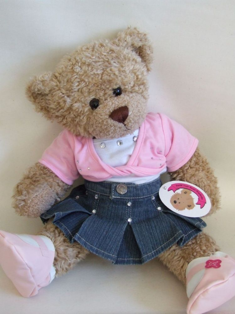 9f51518eaac Build your Bears Wardrobe trade teddy bear clothes Twisted Top Denim Outfit  is a compatible fit for 14-16 build a bear Twisted T-shirt with silver