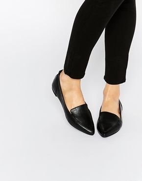Black leather flats, Womens flat shoes