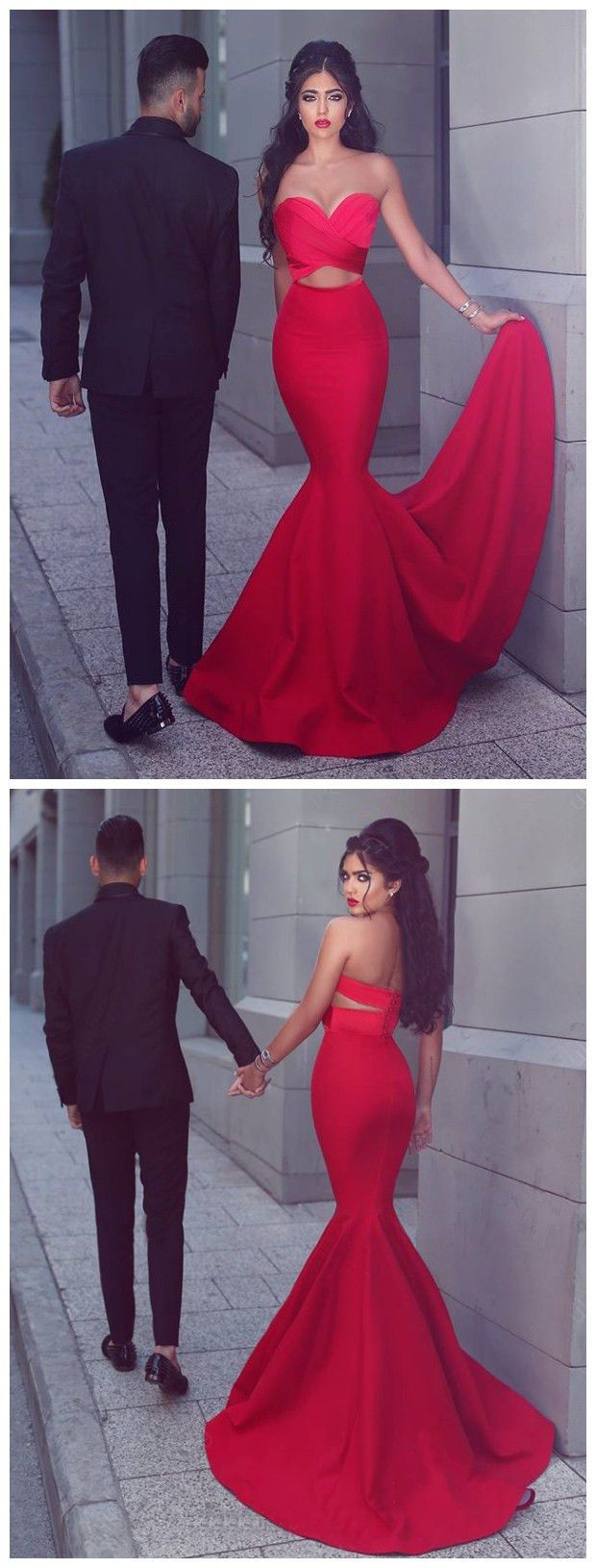 chic mermaid prom dresses sweetheart red long prom dress