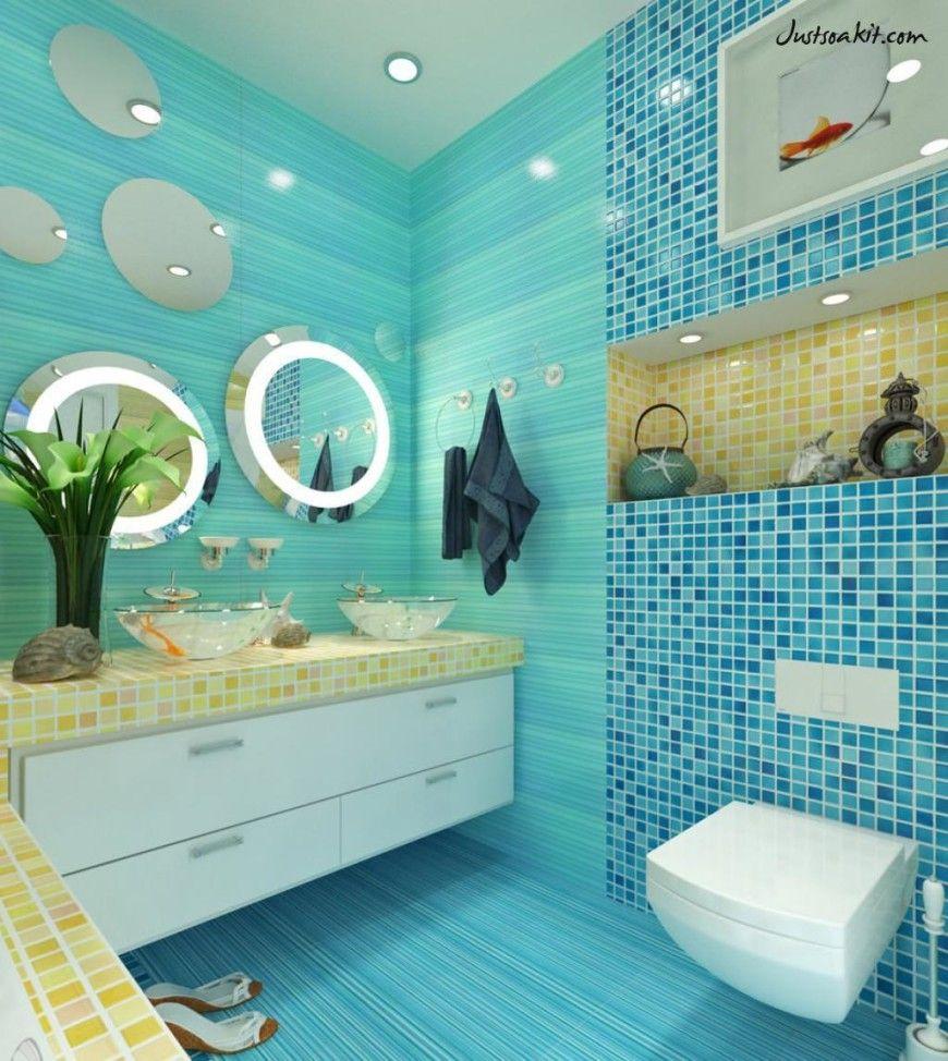 Minimalist Architecture for Blue Ocena Decorate Small Bathroom