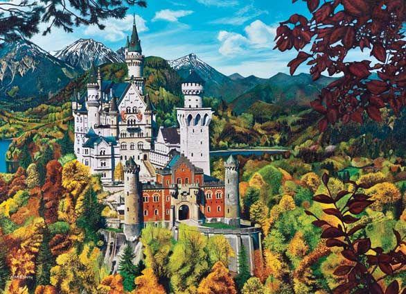 Neuschwanstein Castle 2000 Pieces Cobble Hill Puzzle Warehouse Neuschwanstein Castle Castle City Landscape