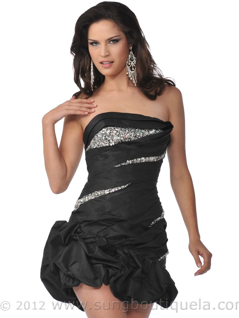 Strapless Beads and Sequins Cocktail Dress with Pick-Up Hem