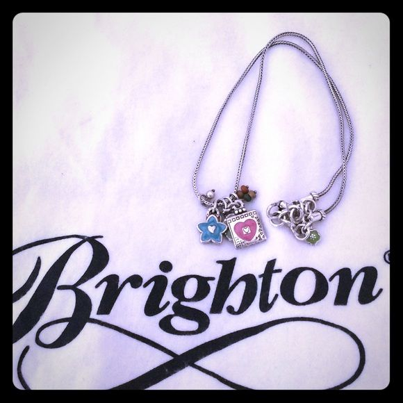 Brighton flower and heart necklace. Cute for spring summer!! Flower and heart charms on silver necklace. Brighton Jewelry Necklaces