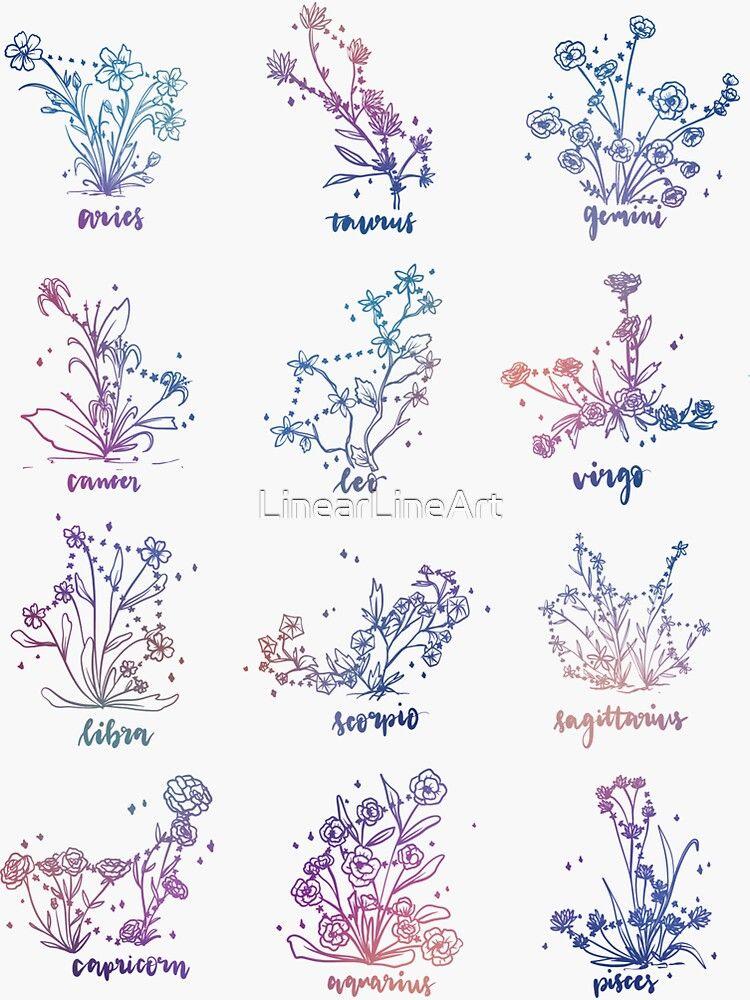 Horoskop blüht Konstellation Sticker von LinearLineArt