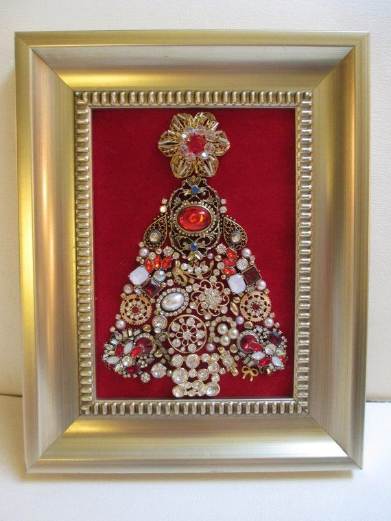 Jeweled Framed Jewelry Art Christmas Tree Red Gold Vintage