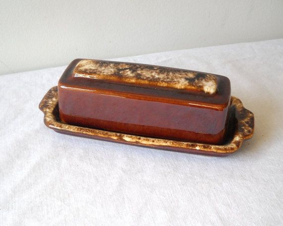 Vintage Hull Butter Dish Brown Drip Mirror by MomsantiquesNthings, $18.00