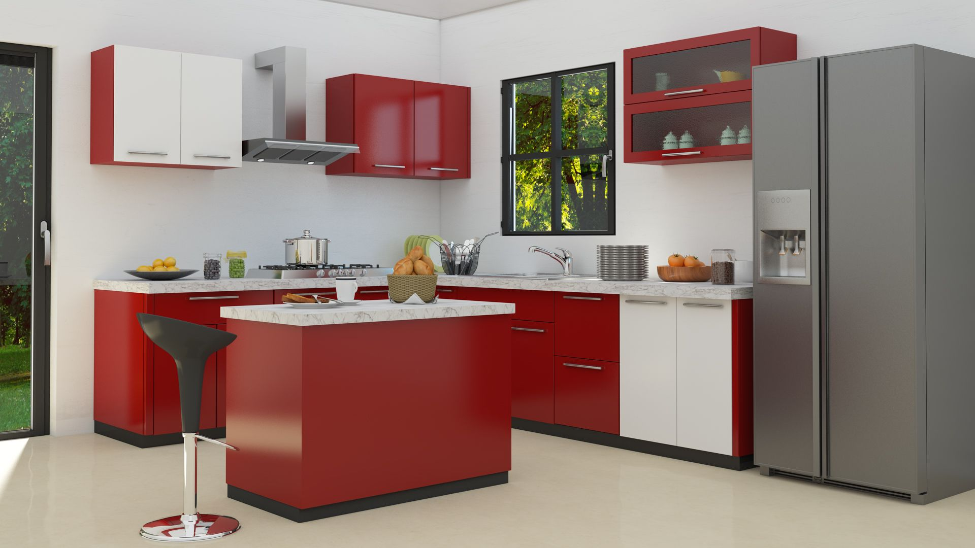 L Shaped Modular Kitchen Designs Red Kitchen Cabinets Beautiful
