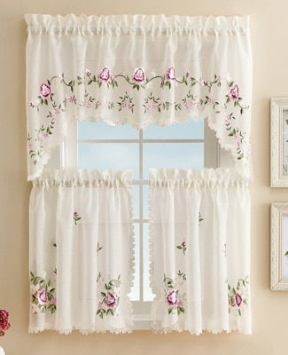 Embroidered Floral Rose Cafe Curtain Set Rose Curtains Diy