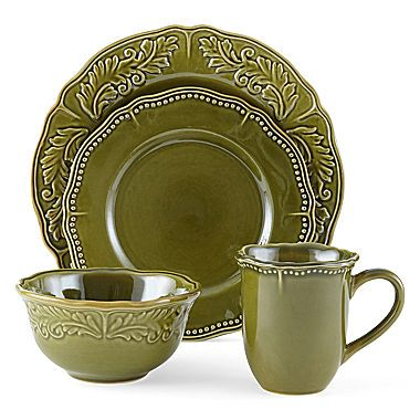 Amberly Olive Green 16 Pc Stoneware Dinnerware Set Discontinued Hard To Find