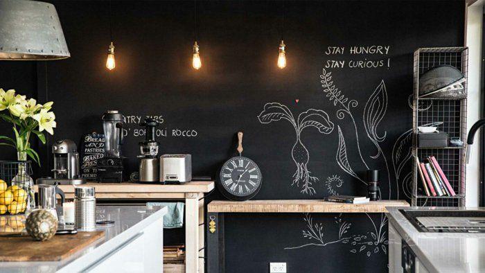 Good Wände Streichen Ideen Wandtafel Küche Dunkle Wandfarbe Nice Ideas