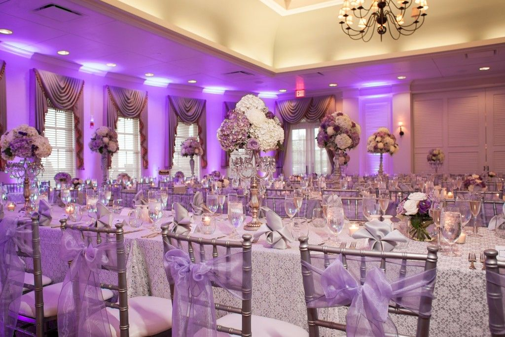 Purple And White Wedding Reception With Tall Centerpieces April 8
