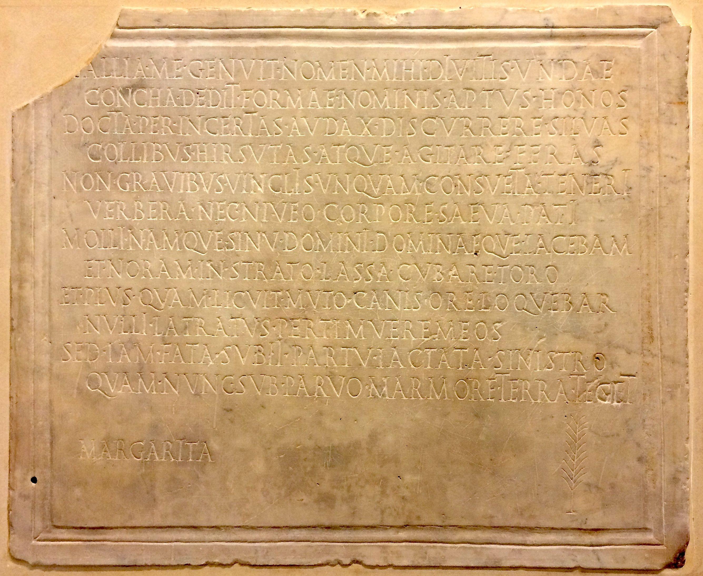 Margaritae canis Epitaphius, British Museum, Rg. Nº 1756,0101.1126 CIL VI 29896