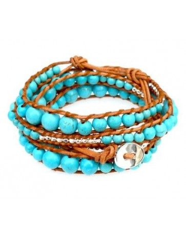 Natural Leather Graduated Turquoise and Silver Bead Mix Wrap Bracelet
