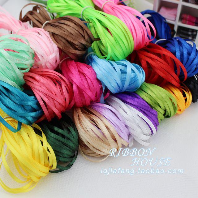 Hot! 3mm wide, 150meter per lot soild colour thin ribbons 100