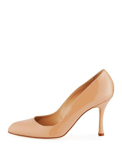 Manolo Blahnik Foka Almond-Toe Patent Leather Pump G5Y02