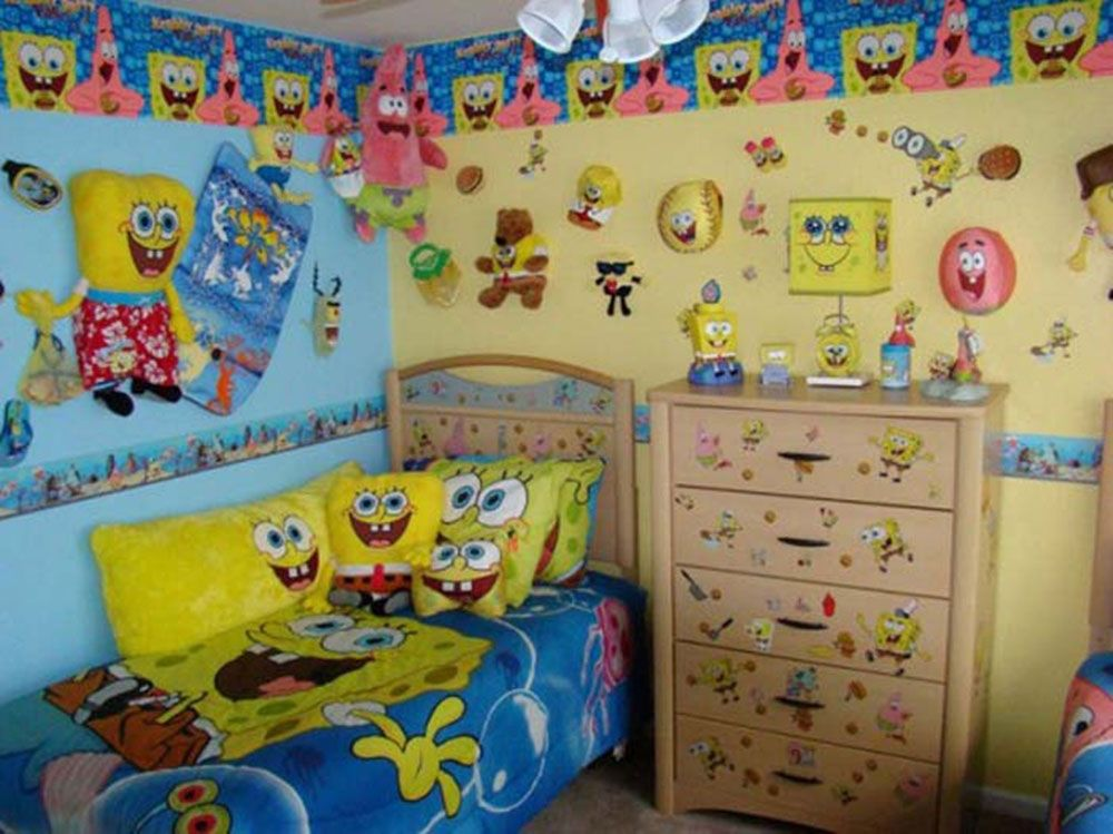 Interior Cute Spongebob Themed Kids Bedroom Design Ideas With Wall Sticker And Funny Bedding Set Featuring Wooden Cabinet Drawes Twin Bed