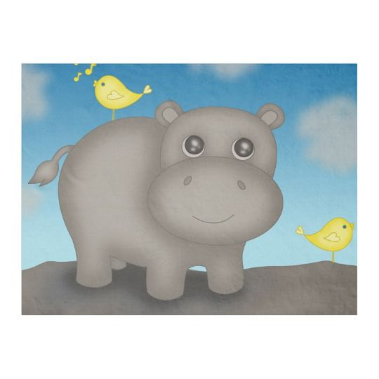 Cute Baby Hippo with Birds Fleece Blanket | Zazzle.com #babyhippo