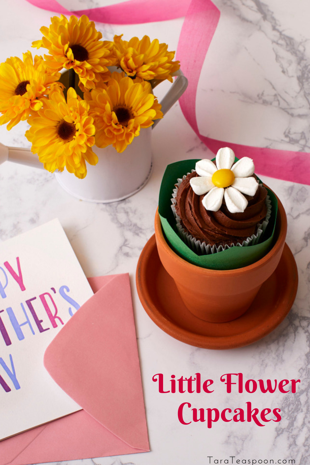 Marshmallow Flowers Cupcakes In Flower Pot in 2020