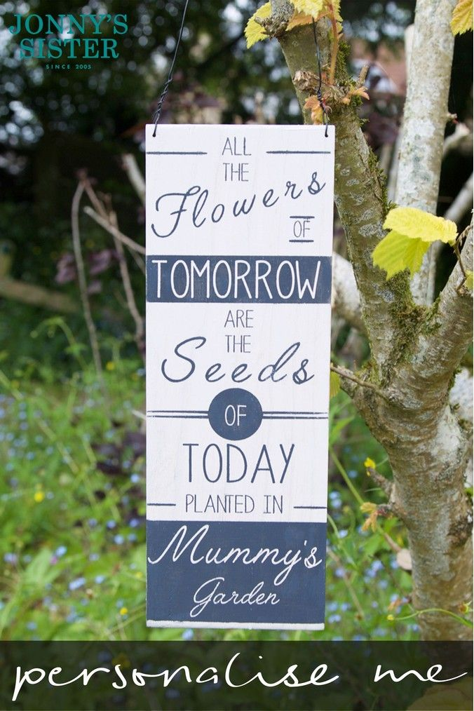 Personalised Mother S Day Seeds Sign By Jonnys Sister White Personalized Mothers Personalised Garden Signs