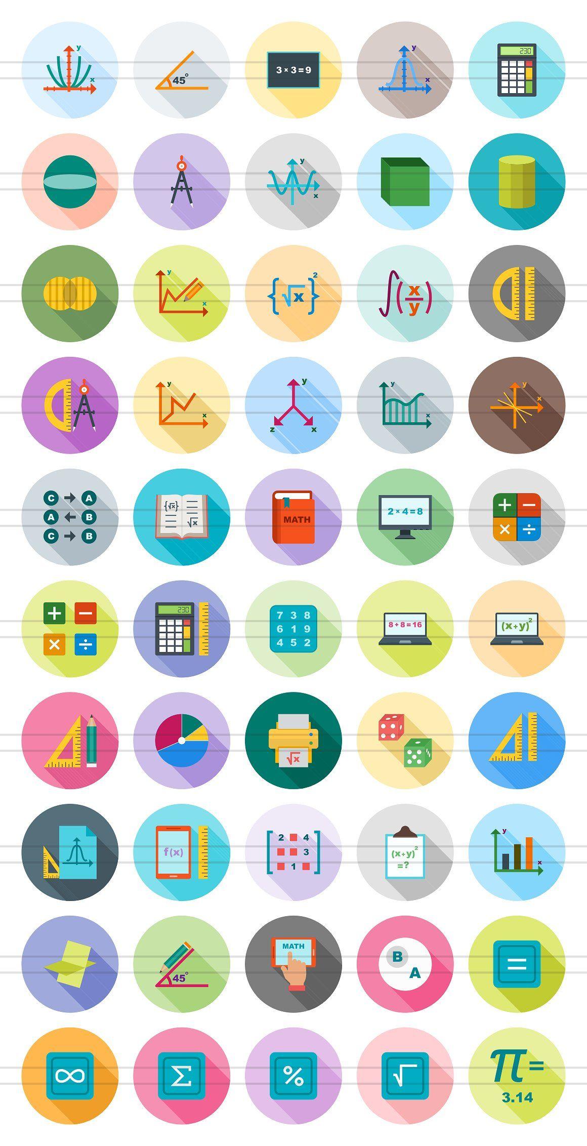 50 Math Symbols Flat Shadowed Icons Shaped Graph