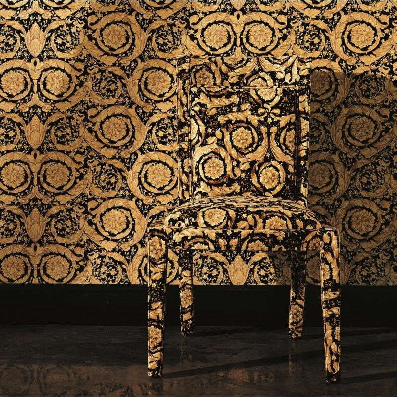 Versace Home Barocco Flowers Black / Gold Luxury 70cm Wallpaper ...