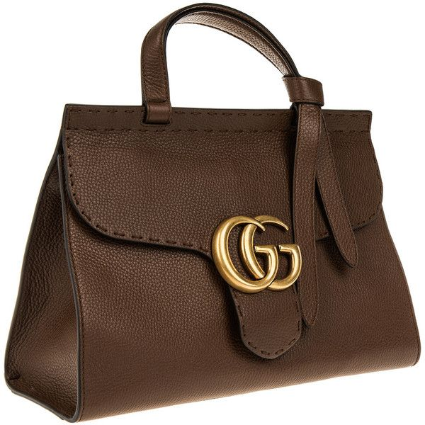 Gucci Handle Bag - Marmont GG Tophandle Leather Brown - in brown -... ($1,905) ❤ liked on Polyvore featuring bags, handbags, gucci handbags, leather hand bags, genuine leather handbags, leather flap handbags and handbag purse