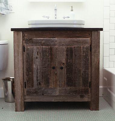 reclaimed wood vanity.