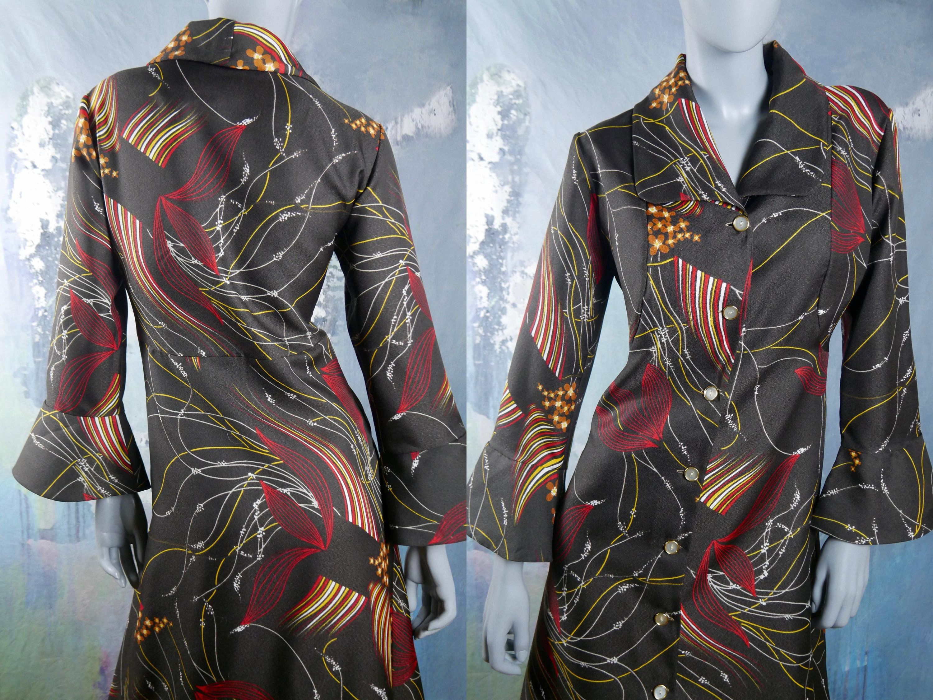 Italian vintage maxi dress s abstract floral long buttondown