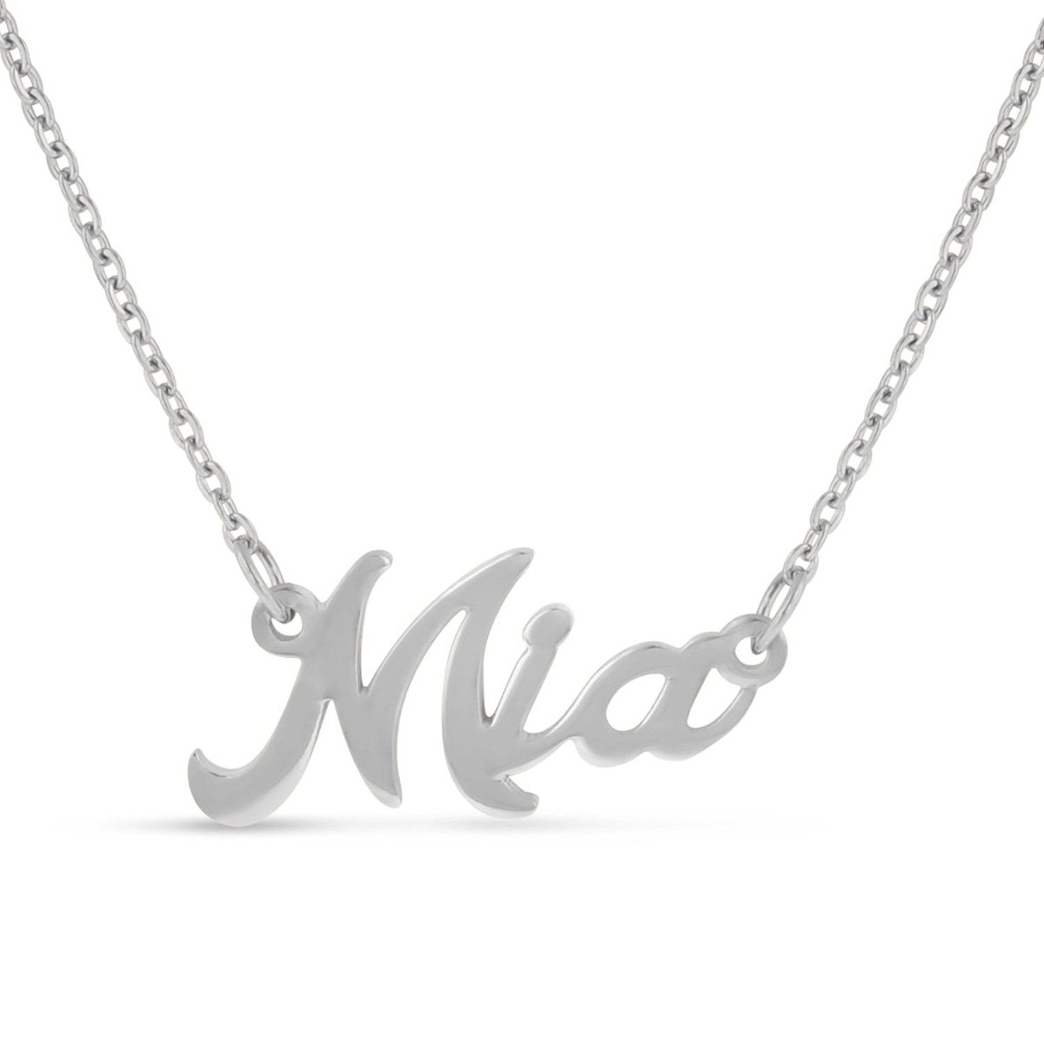 Personalized name necklace pendant in silver tone names