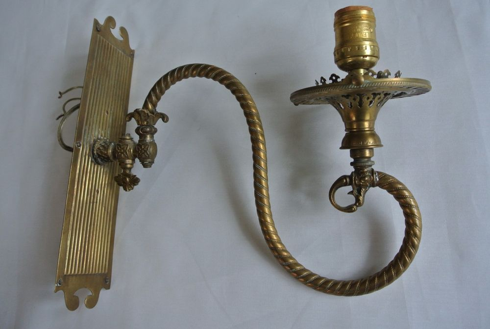 Antique Welsbach Br Gas Lamp Wall Sconce Converted Sconces Restoration
