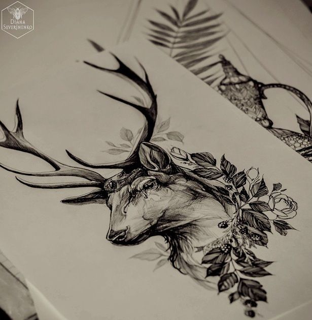 Idea for deer tattoo. Would like to be framed, more ...