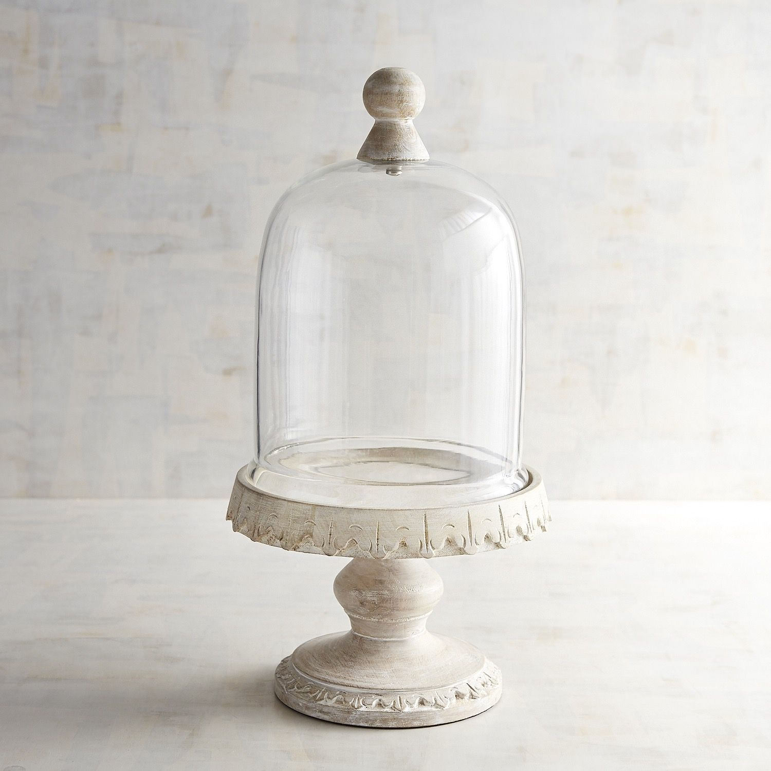 Emma whitewashed wooden cake stand with dome small cake