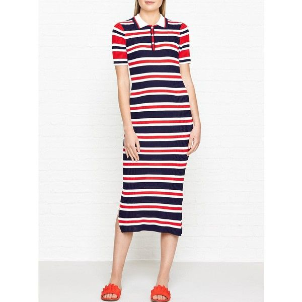 Tommy Hilfiger Erin Stripe Polo Midi Dress ($215) ❤ liked on Polyvore  featuring dresses