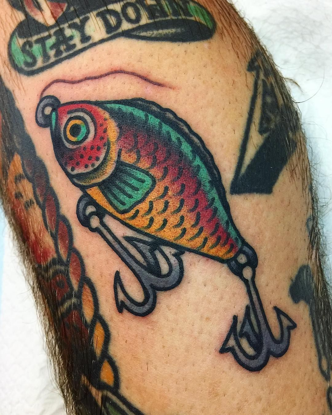 J O S H T O D A R O On Instagram Fishing Lure Walk In Lots Of Fun Despite My Hatred For Fishing Thegrand In 2020 Fishing Lure Tattoo Tattoos Traditional Tattoo