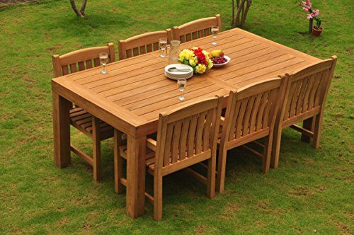 Gradea Teak Wood Dining Set 6 Seater 7 Pc 82 Canberra Rectangle