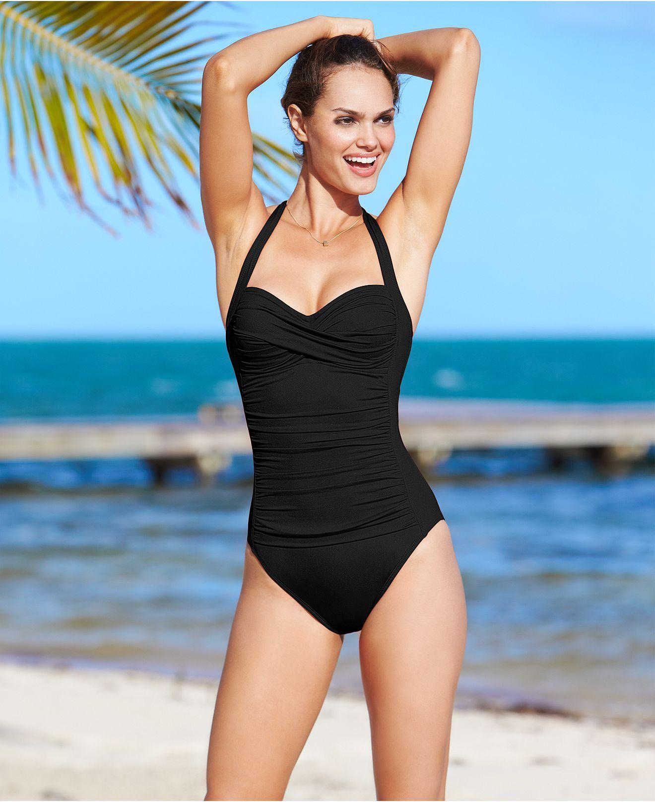 52b5eeb061882 La Blanca Swimsuit, Halter Ruched One-Piece - Womens Swimwear - Macy's