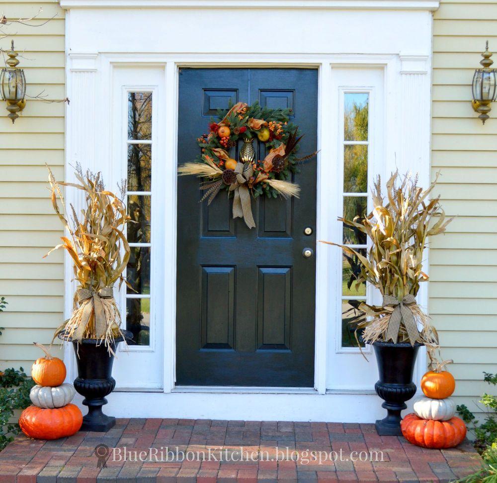 Harvest Front Door Stacked Pumpkins And Corn Stalk Urns Halloween Front Door Decorations Front Porch Decorating Stacked Pumpkins