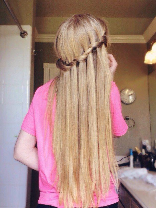 blonde, blondes, braid, braids, girl, girly, hair, hairstyle, pink, pretty, summer, tumblr, waterfall braid