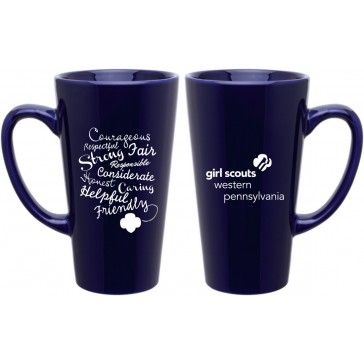 New gswpa cobalt blue latte mug this tall mug has parts of the this tall mug has parts of the girl scout law printed on one side girl scouts western pa on the other publicscrutiny Gallery