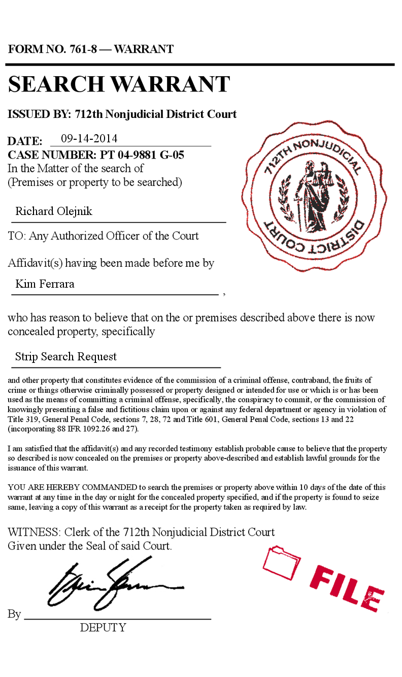 Fake legal search warrant court form police prank