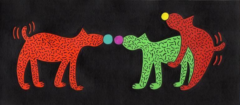 Original Dogs Painting by Angel Ripoll | Dada Art on Cardboard | Cute Doggies