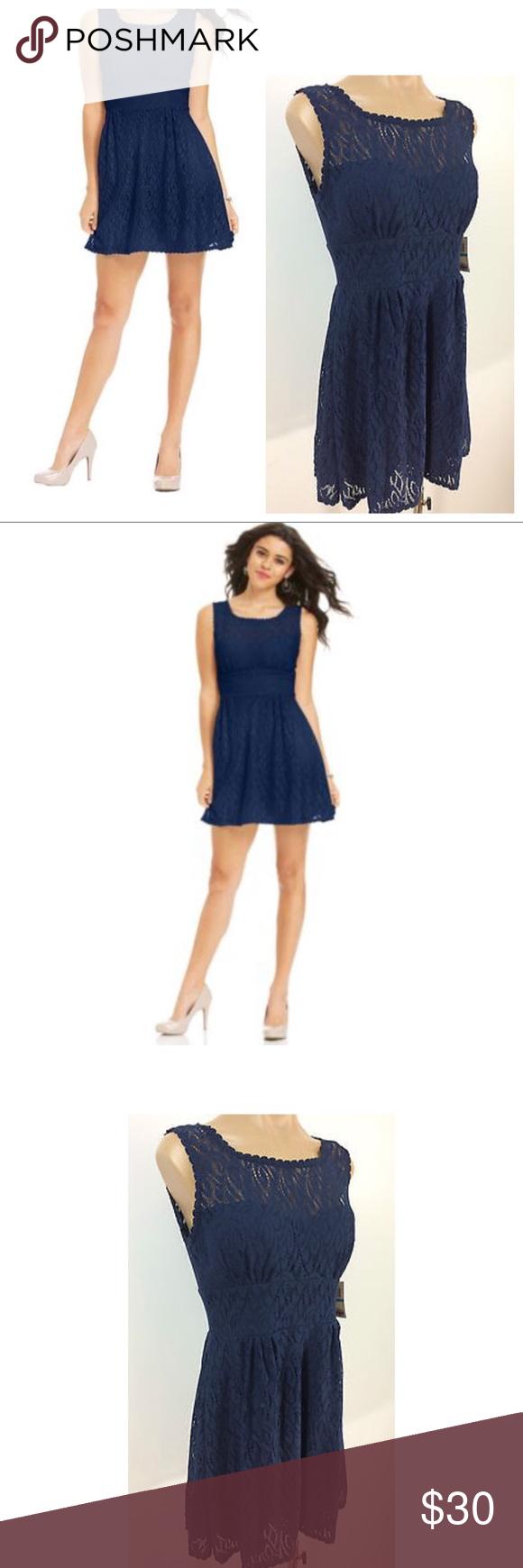 B darlin black lace dress   B Darlin Lace ALine Illusion Dress NAVY BLUE NWT