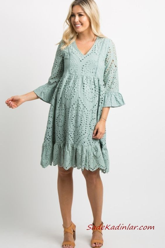 2019 Hamile Elbise Modelleri Yeşil Kısa Yetim Kol V Yakalı Dantel