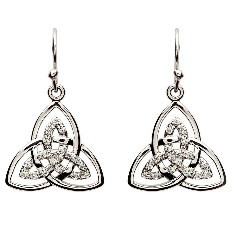 New Silver and Cubic Zirconia Trinity Knot Drop Earrings Celtic Jewellery