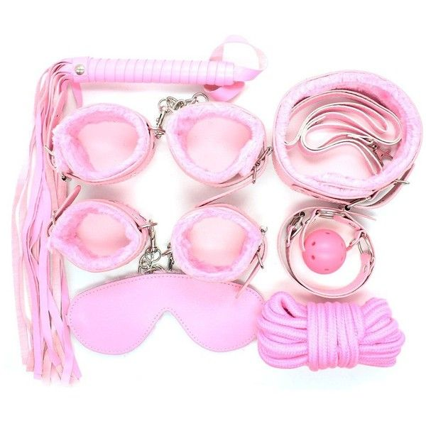 Bedroom Role Play Fur Collar Gag Cuffs Master Whip Rope Blindfold 7pcs... ($30) Liked On