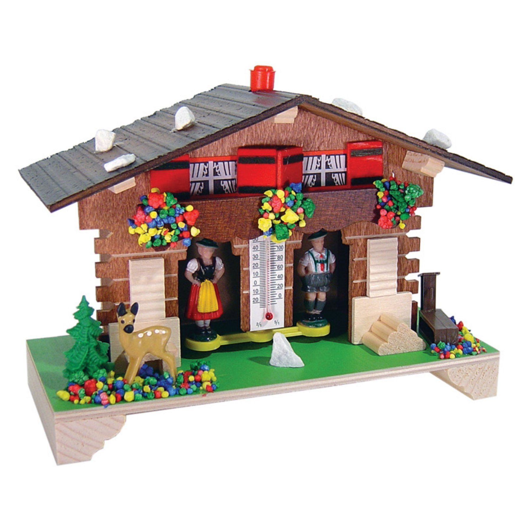 River City Clocks Traditional German Weatherhouse with Deer and Thermometer - 1020T-06